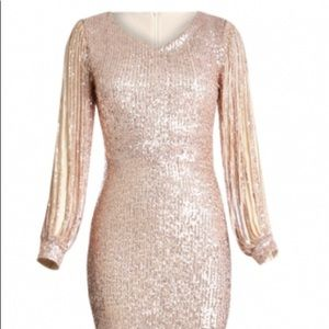 Rose gold sequin prom dress